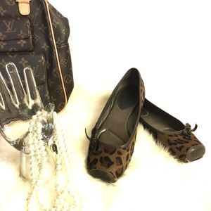 Paolo Leopard Calf Hair Ballet Flat Bow Shoes